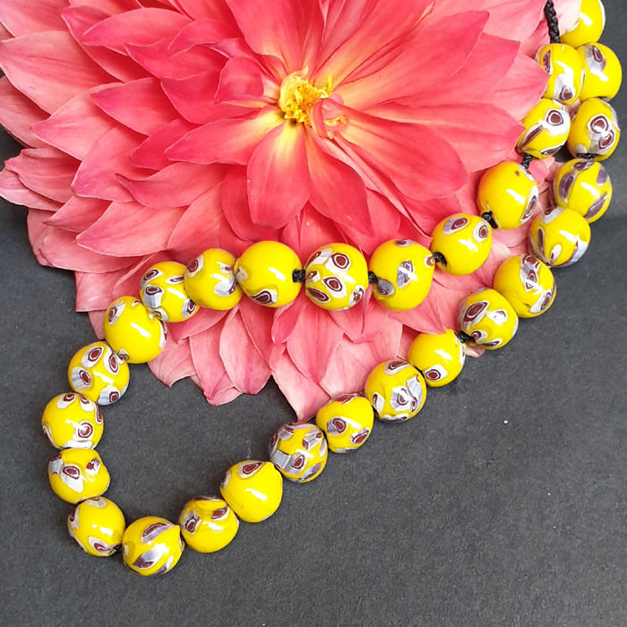 1 KG Pack, Millefiori Trade Beads Size 14mm Round Yellow,Approx Pcs in a Kilo 310 Beads