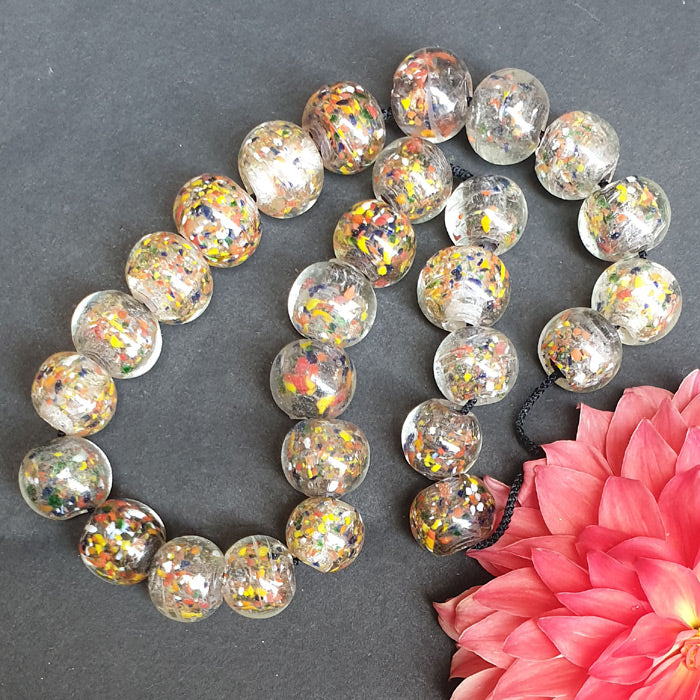 Clear, African, 22mm,  Extra Large Size African handmade Wound Trade Beads North India Origin