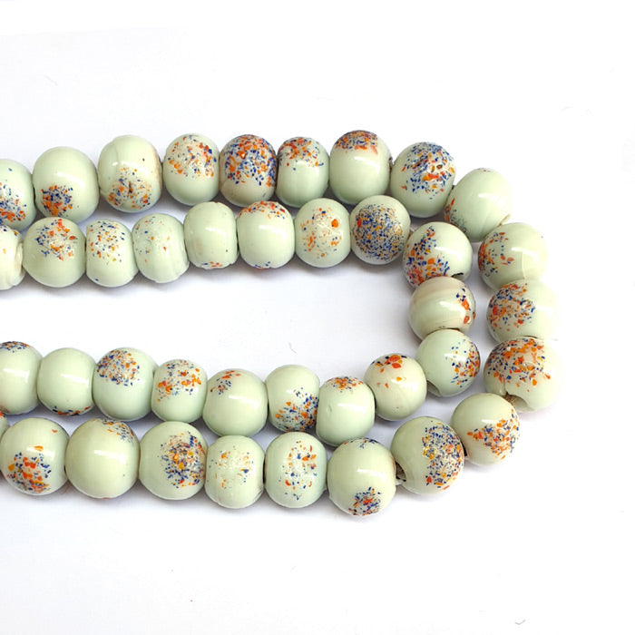 White, African, 16mm,  Extra Large Size African handmade Wound Trade Beads North India Origin