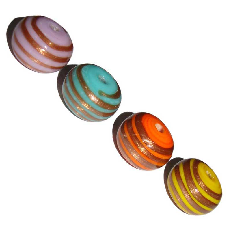 Abacus Gold trails on Colorful opaque Glass Beads bulk buy lampwork