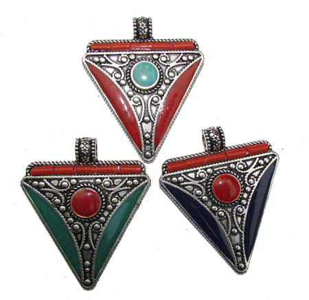 10 Pcs Triangular Shape Nepali Trade Pendant for Jewelry Making anout 50mm Pick mix