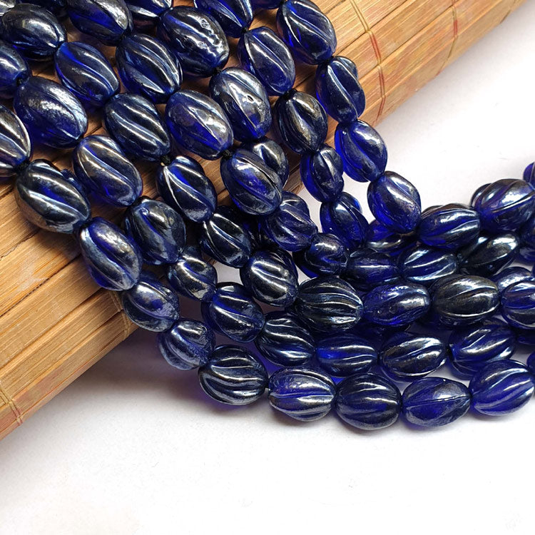 "10x13mm, Twisted Oval Blue AB Luster Indian handmade vintage luster glass beads Sold Per Strand 16"" (10 Strands Pack)"