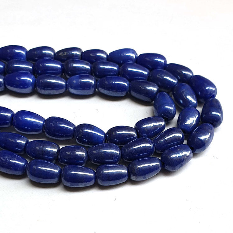 "7x11mm, Drop Blue AB Luster Indian handmade vintage luster glass beads Sold Per Strand 16"" (10 Strands Pack)"