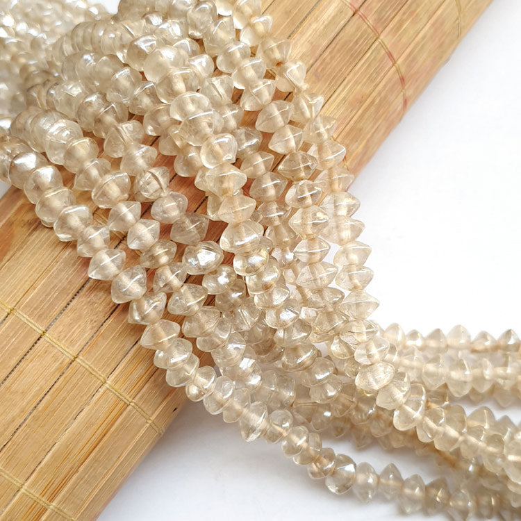 "8x5mm, Saucer Clear AB Luster Indian handmade vintage luster glass beads Sold Per Strand 16"" (10 Strands Pack)"