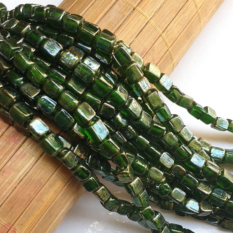 "5x7mm, Cube Green AB Luster Indian handmade vintage luster glass beads Sold Per Strand 16"" (10 Strands Pack)"