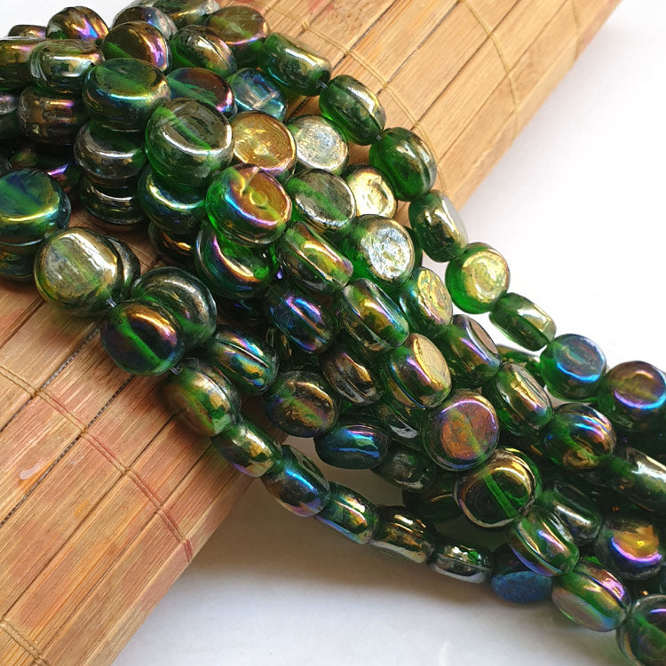 "11x11x6mm, Coin Green AB Luster Indian handmade vintage luster glass beads Sold Per Strand 16"" (10 Strands Pack)"