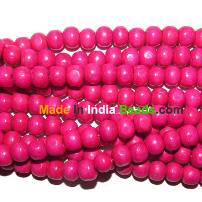 "20 Strands (each 16"")  Pack 8mm Size Pink Dyed Noraml low priced wood beads for jewelry and craft making supplies"