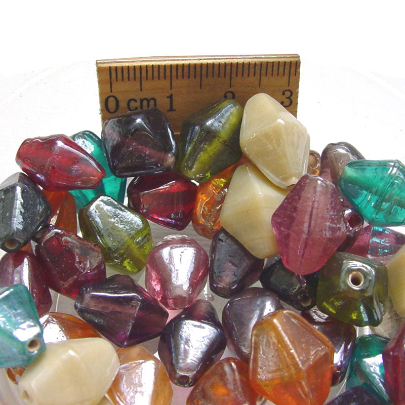 1 Kilogram Mix Color Glass Beads 7x11mm Bi Cone Opaque and Transparent Solid color