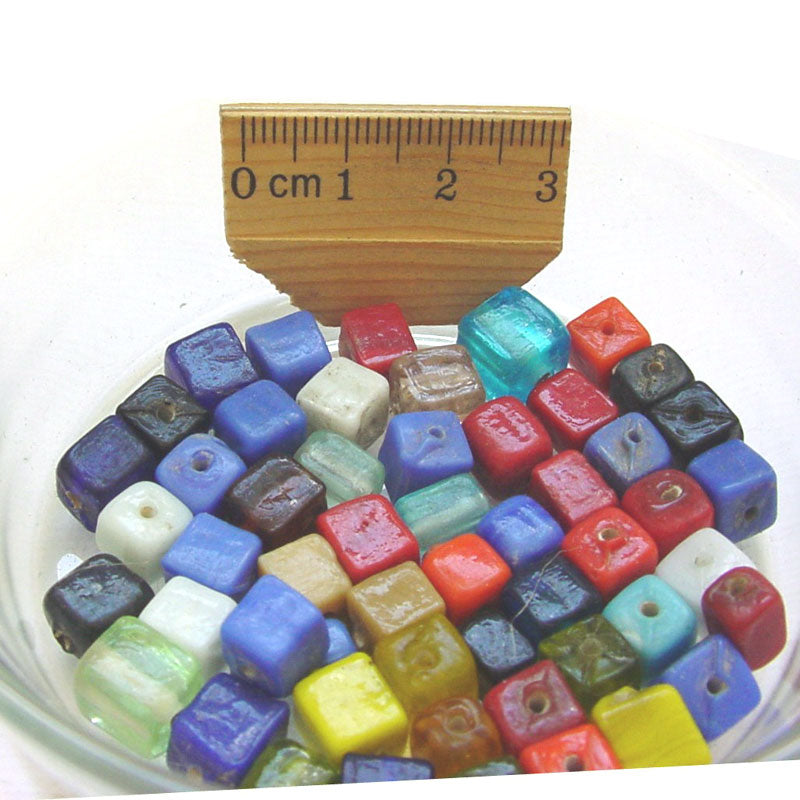 1 Kilogram Mix Color Glass Beads 8mm Cube Opaque and Transparent Solid color