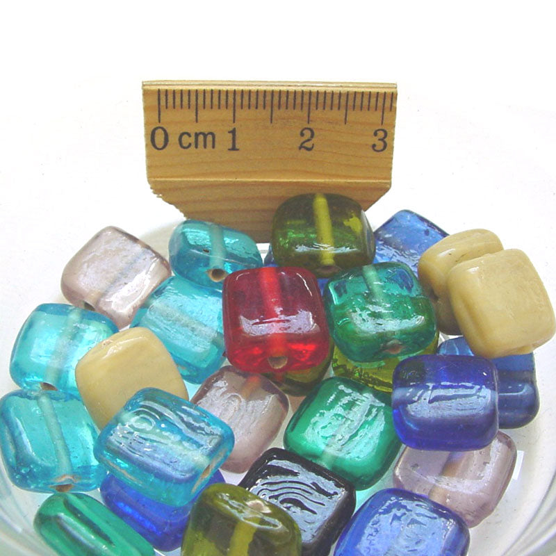 1 Kilogram Mix Color Glass Beads 10mm Flat Cube Opaque and Transparent Solid color