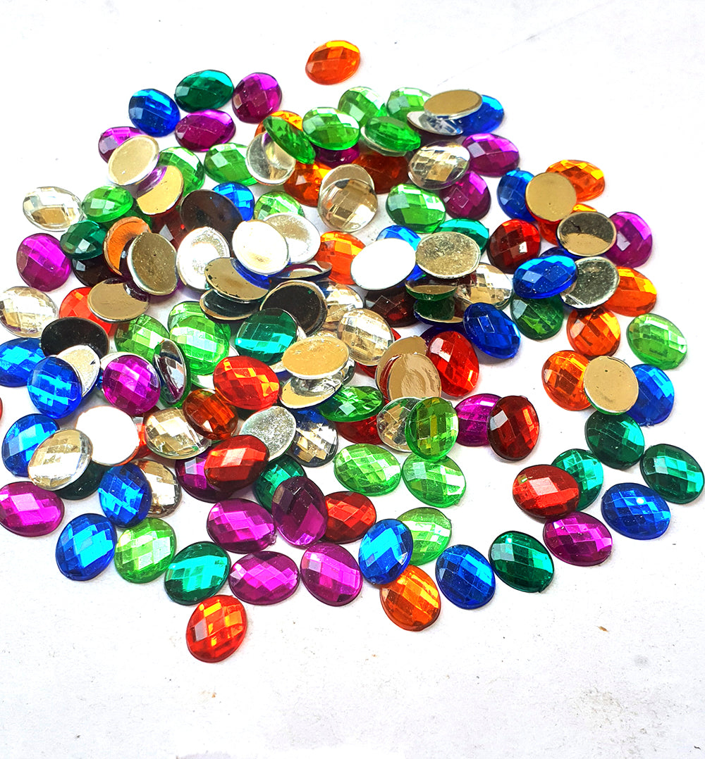 Wholesale Acrylic (Lucite) Rhinestones hobby and Crafts  t720 Pieces Package Hematite Black  Rhinestones Flat Back Mix Color Oval Shape 8x10mm Size