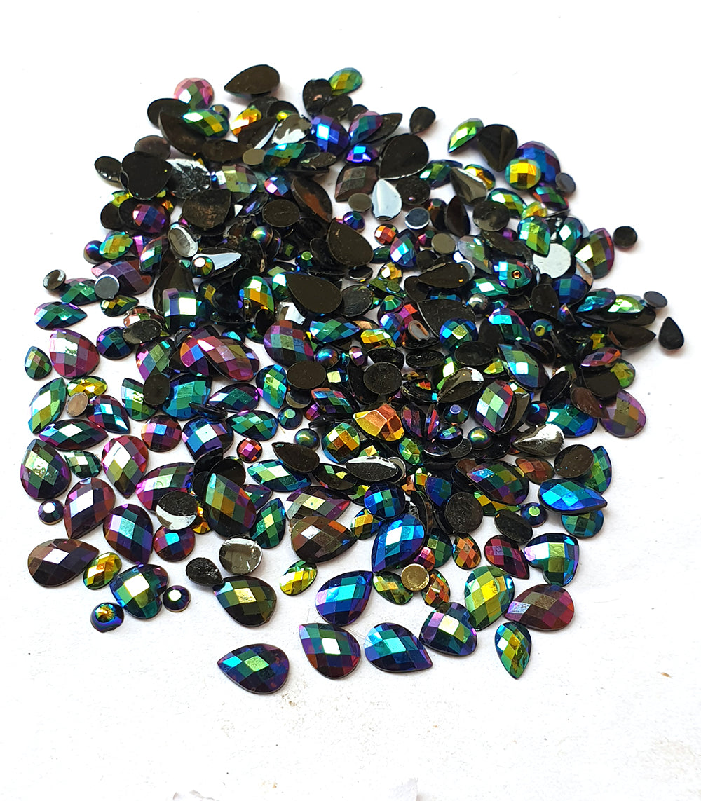 Wholesale Acrylic (Lucite) Rhinestones hobby and Crafts 1440 Pieces Package Rainbow  Rhinestones Flat Back Black Color Assorted Shape 4-10mm Size