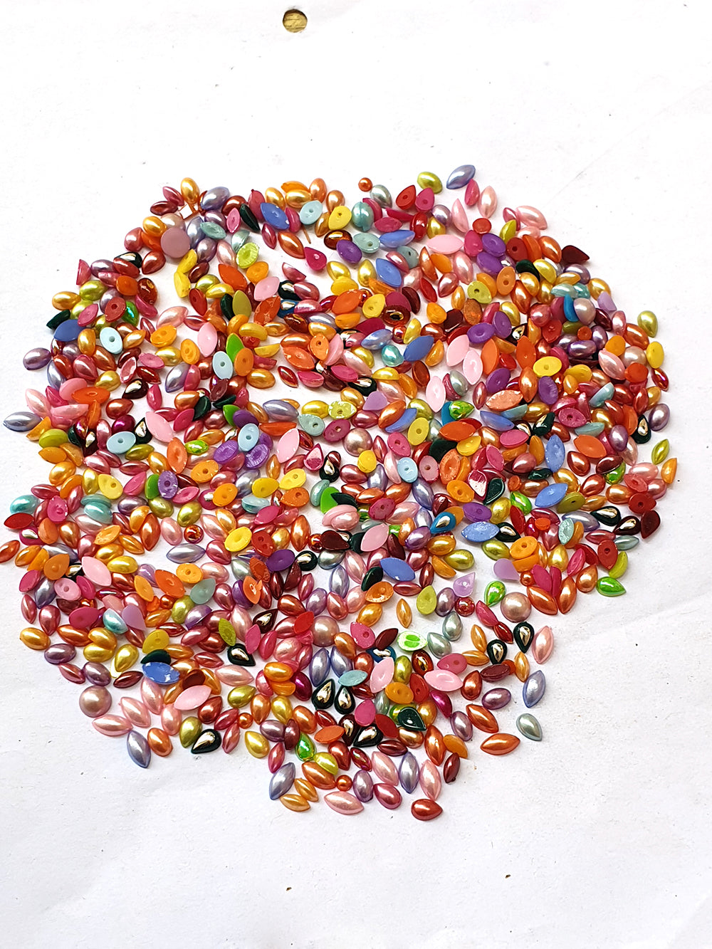 Wholesale Acrylic (Lucite) Rhinestones hobby and Crafts 1440 Pieces Package Pearlized  Rhinestones Flat Back Mix Color Assorted Shape 4x6mm Size
