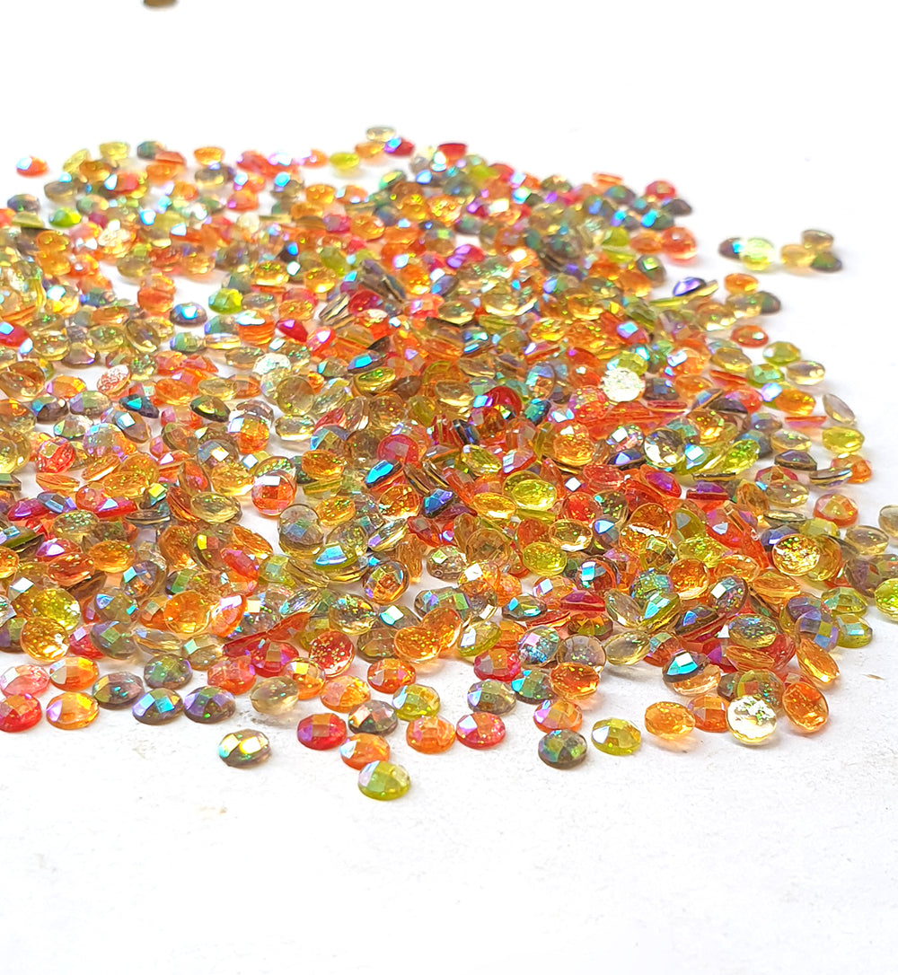 Wholesale Acrylic (Lucite) Rhinestones hobby and Crafts 1440 Pieces Package Crystal Glitter  Rhinestones Flat Back Mix Color Round Shape 3mm Size