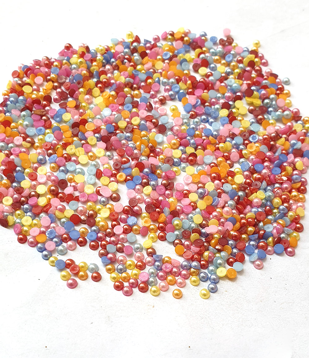 Wholesale Acrylic (Lucite) Rhinestones hobby and Crafts 1440 Pieces Package Pearlized  Rhinestones Flat Back Mix Color Round Shape 3mm Size