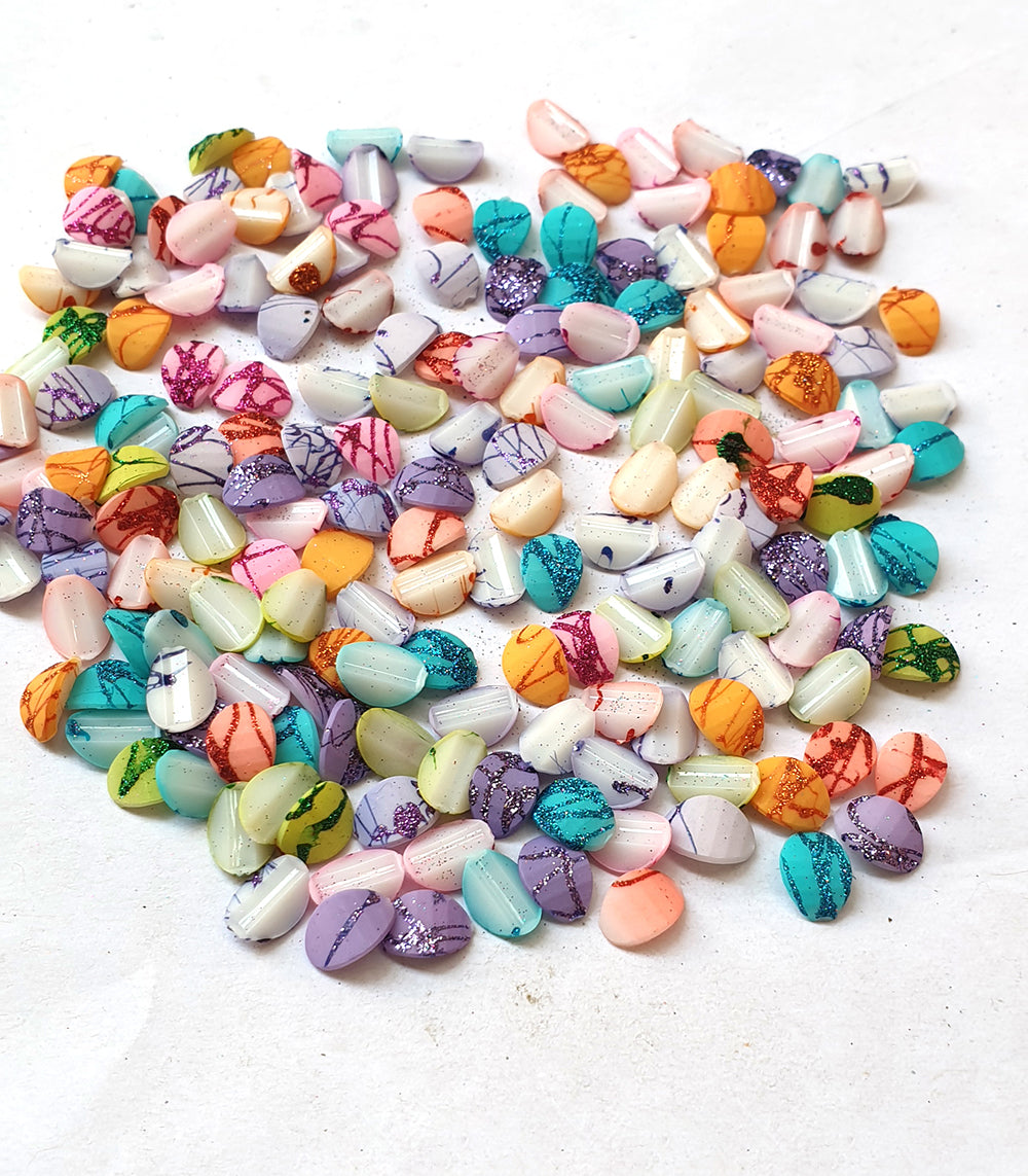 Wholesale Acrylic (Lucite) Rhinestones hobby and Crafts 720 Pieces Package Matt on Glitter  Rhinestones Flat Back Mix Color Teeth Shape 8x6mm Size