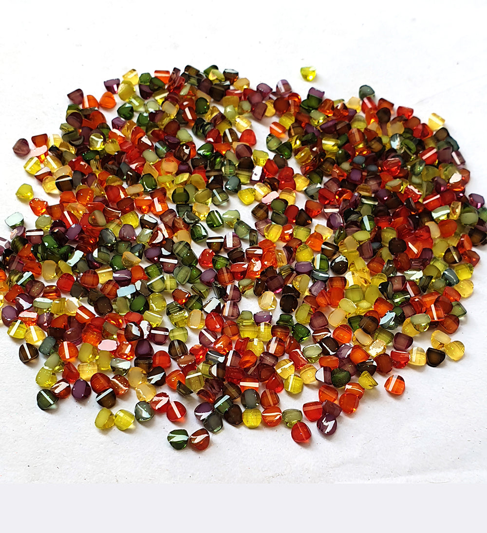 Wholesale Acrylic (Lucite) Rhinestones hobby and Crafts 1440 Pieces Package Crystal  Rhinestones Flat Back Mix Color Teeth Shape 4mm Size