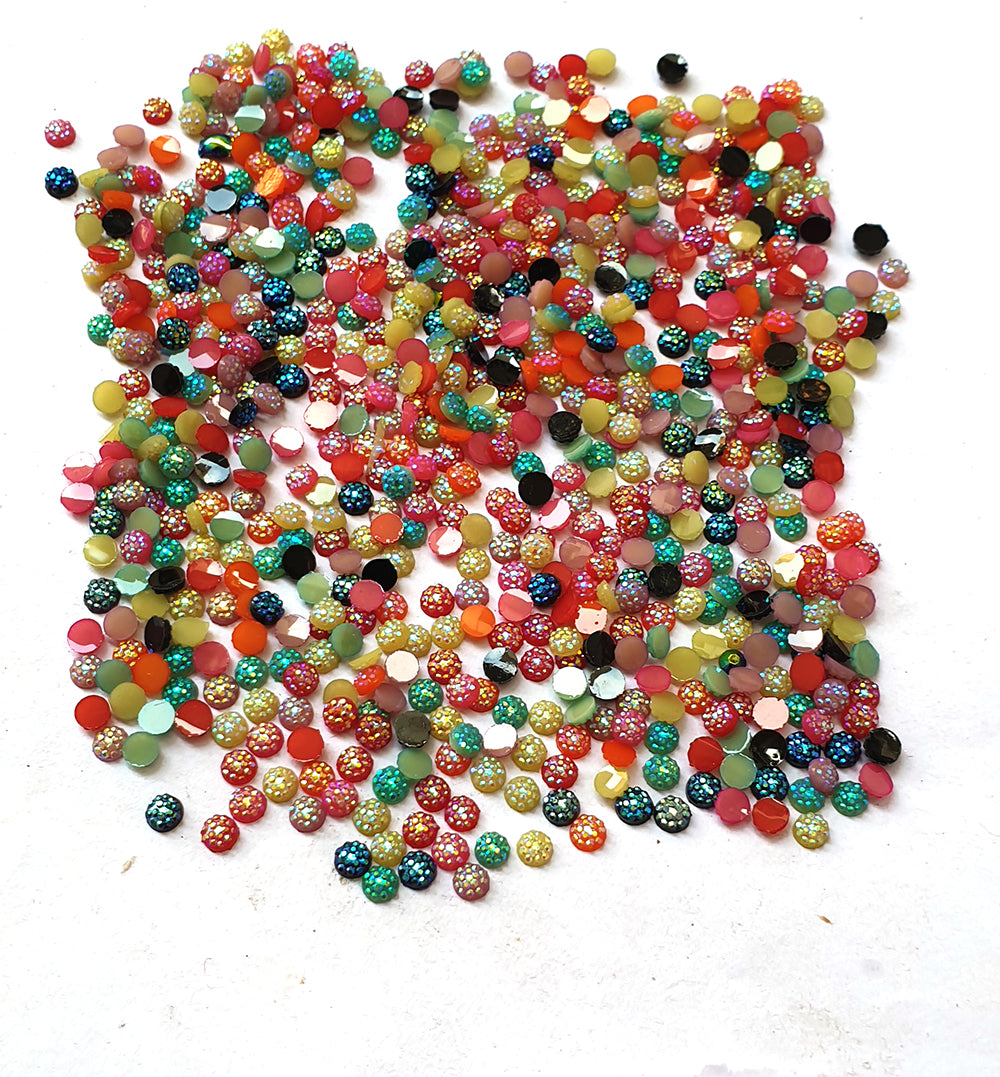Wholesale Acrylic (Lucite) Rhinestones hobby and Crafts 1440 Pieces Package Opaque on Glitter  Rhinestones Flat Back Mix Color Round Shape 4mm Size