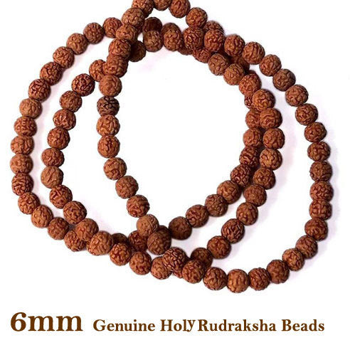 Five Faced Mukhi Natural & Energized 6mm Size Rudraksha Rosary/ Mala (108+1 Beads)
