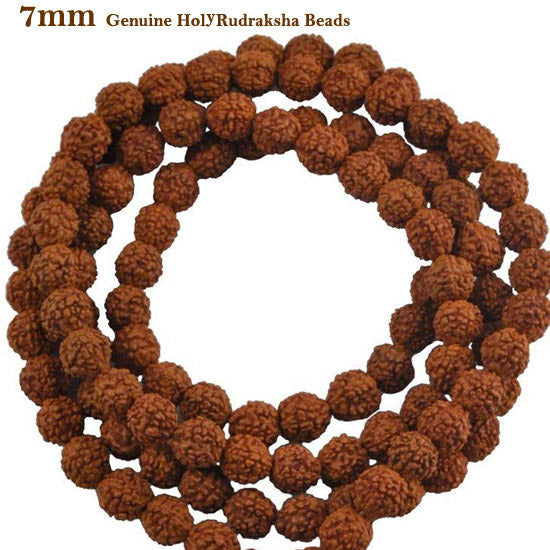 Five Faced Mukhi Natural & Energized 7mm Size Rudraksha Rosary/ Mala (108+1 Beads)