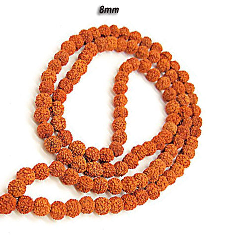 Five Faced Mukhi Natural & Energized 8mm Size Rudraksha Rosary/ Mala (108+1 Beads)
