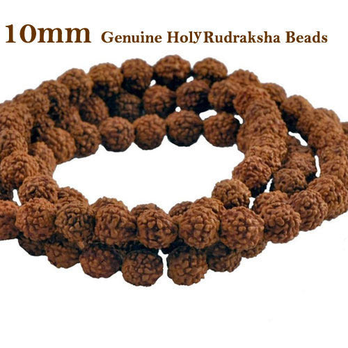 Five Faced Mukhi Natural & Energized 10mm Size Rudraksha Rosary/ Mala (108+1 Beads)