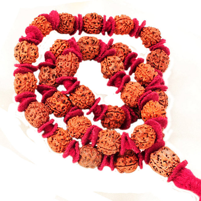 16mm Large with fabric spacers Spritual Rudrakasha Mala 108+1 Beads