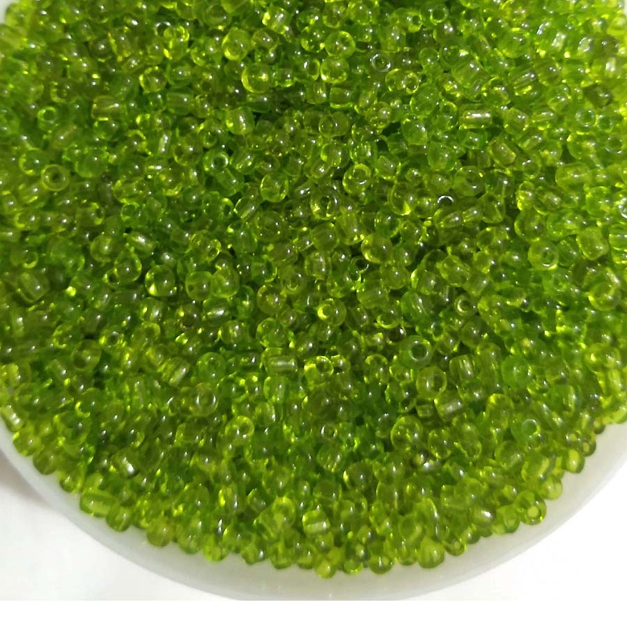 500 grams and 1 kilogram pack lime green glass seed beads 8/0 size for jewelry and craft  making