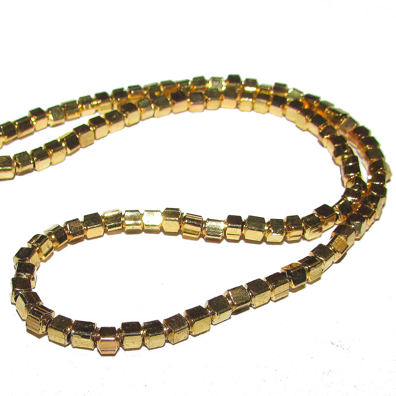 1 Kilogram 3mm, Cube Gold Plated Brass Metal Beads Sold Per KilogramPack 4340 Pcs in a 100 Kilogram.