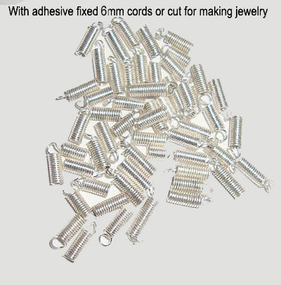 1000 Pcs Spring Crimp Cord stopper beads Silver plated