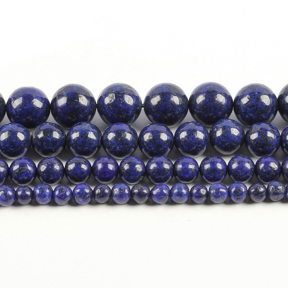 6 8 10 MM Natural Blue Lapis Lazuli Beads For Making Jewelry Bracelet Diy Accessories Smooth Round Stone Strand Beads
