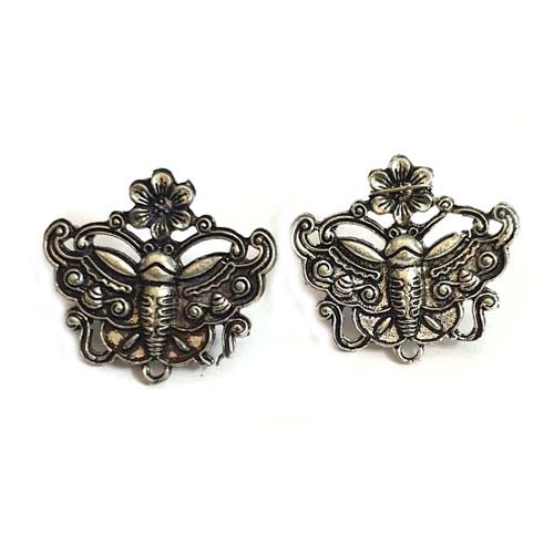 Per Kilo Pack Silver Oxidized Butterfly earring making studs tops temple jewelry making components findings