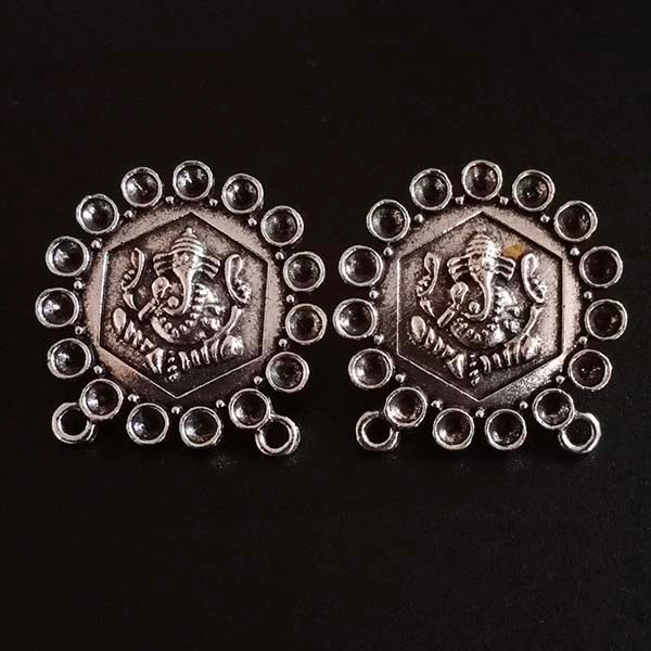 Per Kilo Pack Silver Oxidized Ganesha earring making studs tops temple jewelry making components findings