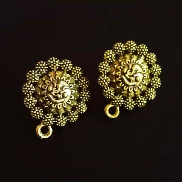 Per Kilo Pack Gold Oxidized Ganesha earring making studs tops temple jewelry making components findings