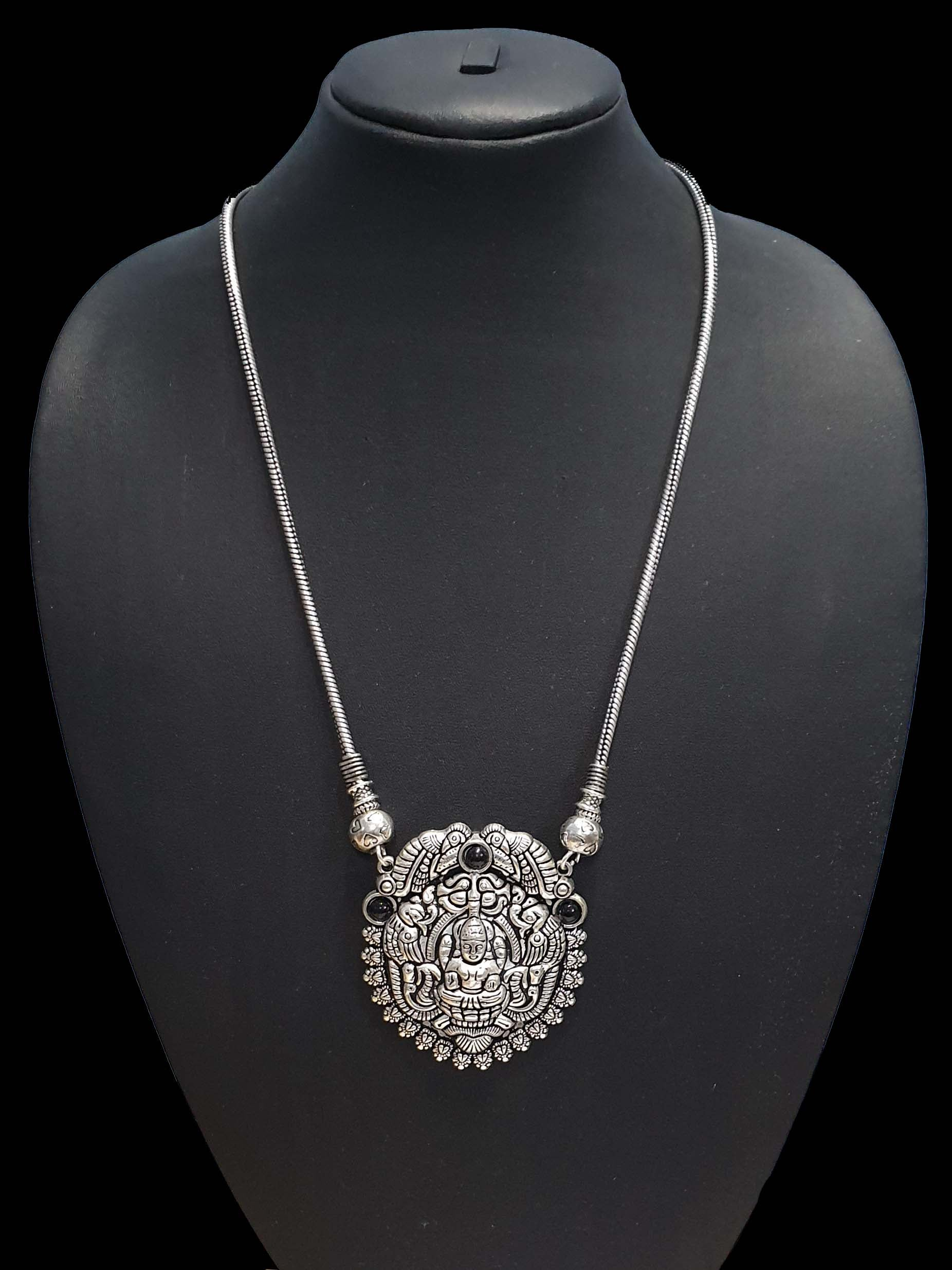 Temple Oxidized Fashion Necklace Base metal German Silver plated long necklace