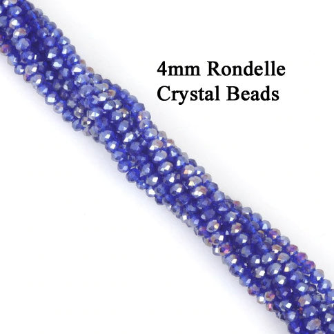 10 Strands Ab Luster Transparent Color Blue Color Rondelle Shape Faceted Crystal Glass Beads for jewelry Making Wholesale