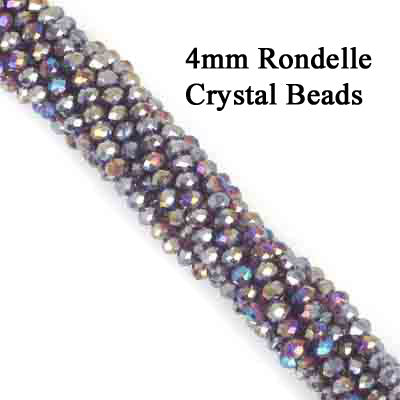 10 Strands Ab Luster Transparent Color Purple Color Rondelle Shape Faceted Crystal Glass Beads for jewelry Making Wholesale