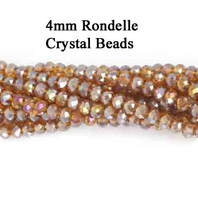 10 Strands Ab Luster Transparent Color Brown Color Rondelle Shape Faceted Crystal Glass Beads for jewelry Making Wholesale