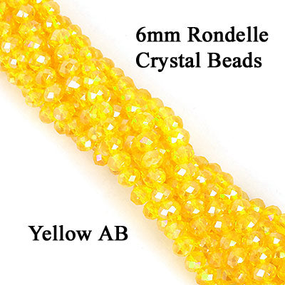 10 Strands Ab Luster Transparent Color Yellow Color Rondelle Shape Faceted Crystal Glass Beads for jewelry Making Wholesale