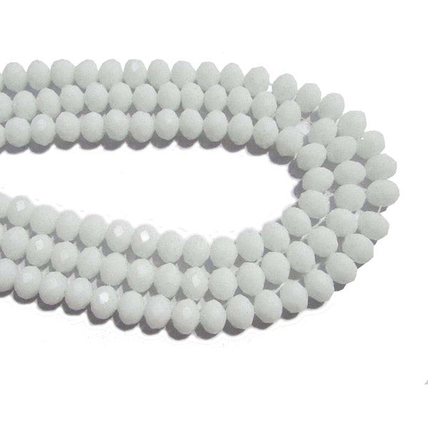 10 Strands Opaque Color White Color Rondelle Shape Faceted Crystal Glass Beads for jewelry Making Wholesale