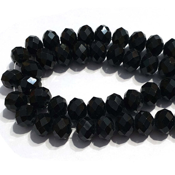 10 Strands Opaque Color Black Color Rondelle Shape Faceted Crystal Glass Beads for jewelry Making Wholesale