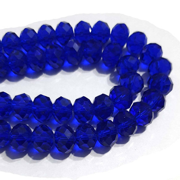 10 Strands Transparent Color Blue Color Rondelle Shape Faceted Crystal Glass Beads for jewelry Making Wholesale