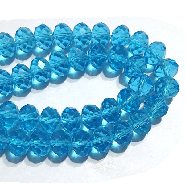 10 Strands Transparent Color Cyan Color Rondelle Shape Faceted Crystal Glass Beads for jewelry Making Wholesale