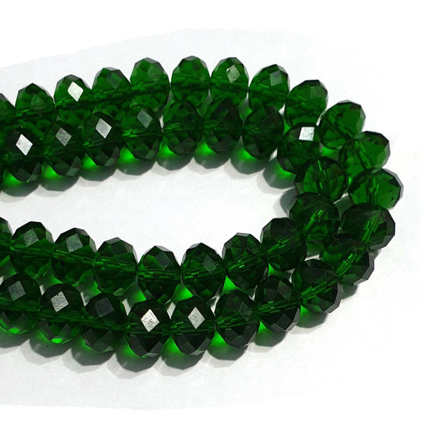 10 Strands Transparent Color Green Color Rondelle Shape Faceted Crystal Glass Beads for jewelry Making Wholesale