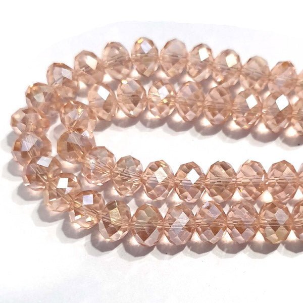 10 Strands Ab Luster Transparent Color Pink Color Rondelle Shape Faceted Crystal Glass Beads for jewelry Making Wholesale