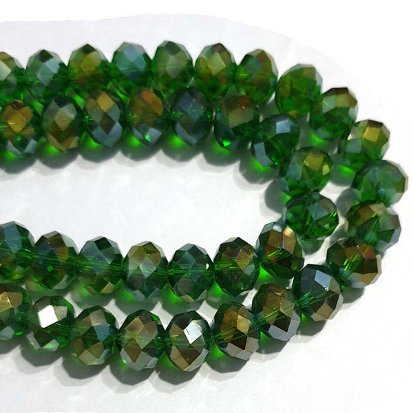 10 Strands Ab Luster Transparent Color Green Color Rondelle Shape Faceted Crystal Glass Beads for jewelry Making Wholesale