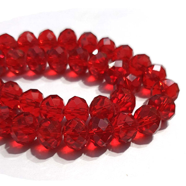 10 Strands Transparent Color Red Color Rondelle Shape Faceted Crystal Glass Beads for jewelry Making Wholesale