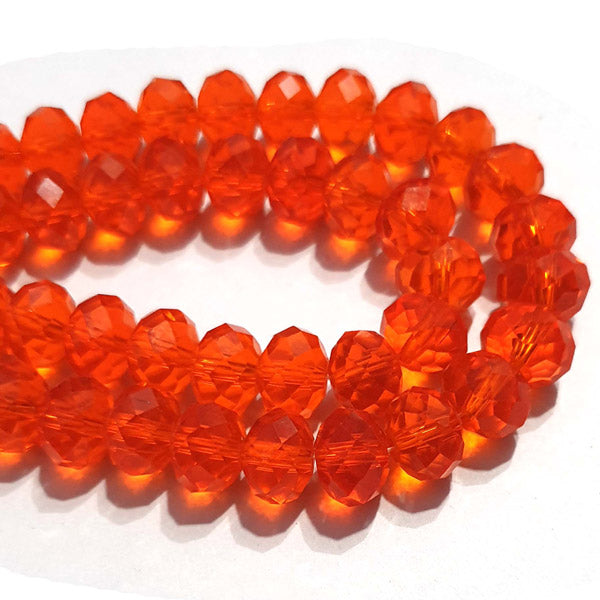 10 Strands Transparent Color Orange Color Rondelle Shape Faceted Crystal Glass Beads for jewelry Making Wholesale
