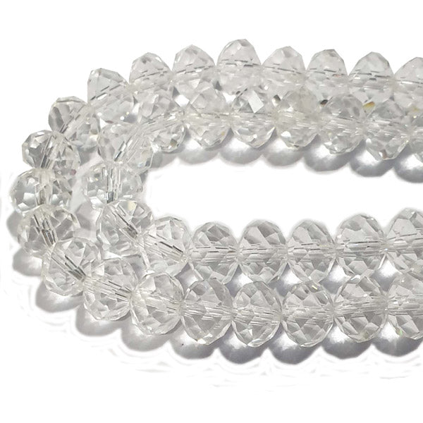 10 Strands Transparent Color Clear Color Rondelle Shape Faceted Crystal Glass Beads for jewelry Making Wholesale