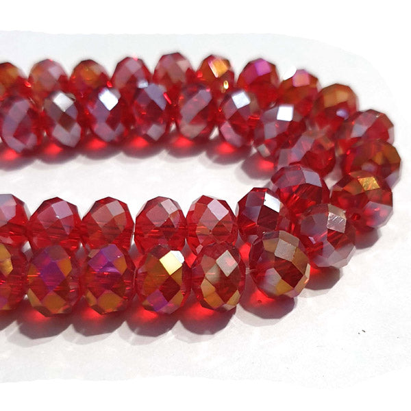10 Strands Ab Luster Transparent Color Red Color Rondelle Shape Faceted Crystal Glass Beads for jewelry Making Wholesale